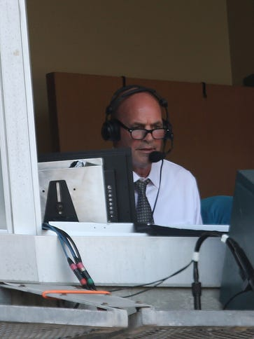 Former Detroit Tiger Kirk Gibson calling the action