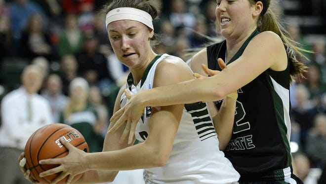 UWGB's Tesha Buck (2) steals the ball away from Wright State's Breanna Stucke (32) in the second half at the Kress Events Center in Green Bay.