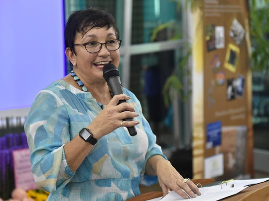 """Jillette Leon Guerrero speaks at the launch of her book, """"A Year on the Island of Guam, 1899-1900,"""" at the Guam Museum in Hagåtña on Nov. 9, 2016."""
