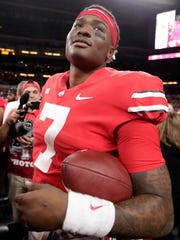 Ohio State quarterback Dwayne Haskins (7) celebrates after defeating Northwestern 45-24 in the Big Ten championship NCAA college football game, early Saturday, Dec. 1, 2018, in Indianapolis. (AP Photo/Michael Conroy)