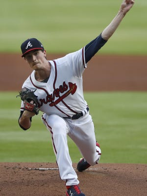 Atlanta Braves starting pitcher Max Fried (54) works against the Toronto Blue Jays in the first inning of a baseball game Tuesday, Aug. 4, 2020, in Atlanta.