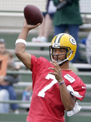 Green Bay Packers quarterback Brett Hundley throws during a June 16 minicamp practice at Ray Nitschke Field.