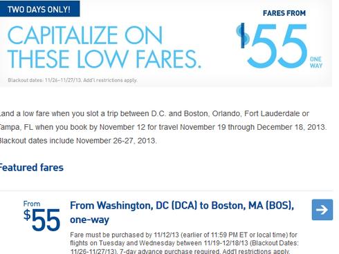 A screenshot of JetBlue's website from the evening of Nov. 11, 2013.