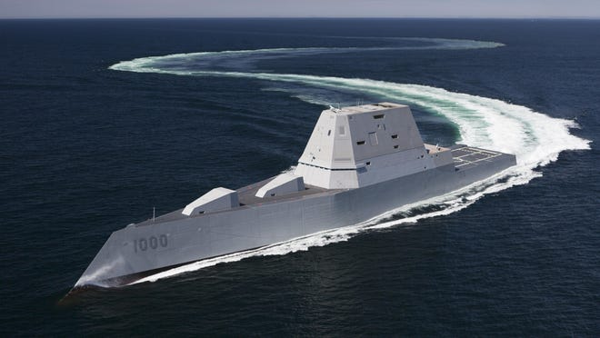 The future guided-missile destroyer USS Zumwalt in April in the Atlantic Ocean undergoing sea trials. The Navy accepted delivery of the first-of-its kind ship Friday.