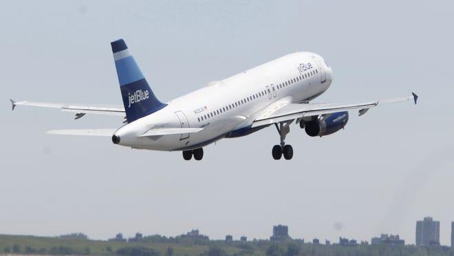 A JetBlue airplane.