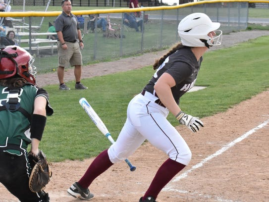 Shippensburg's Morgan Fetter takes off after hitting