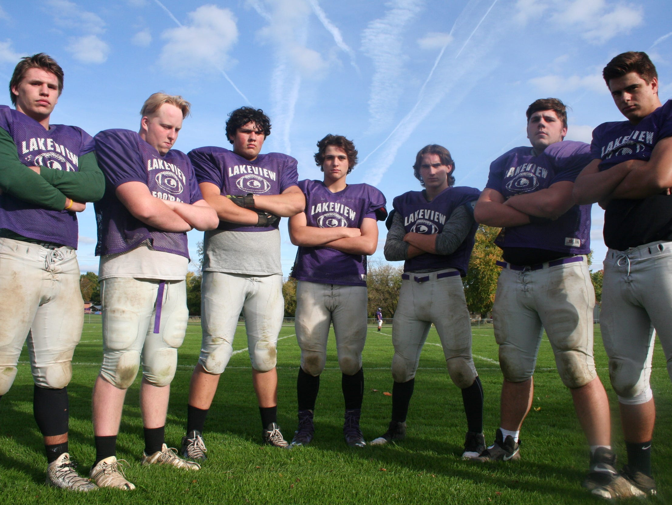 Lakeview's offensive line, from right, Michael Miller, Logan Stallings, Maccabee Barrett, Jordan Loss, Cameron Wirtz, Aiden Booton and Steven Laws.