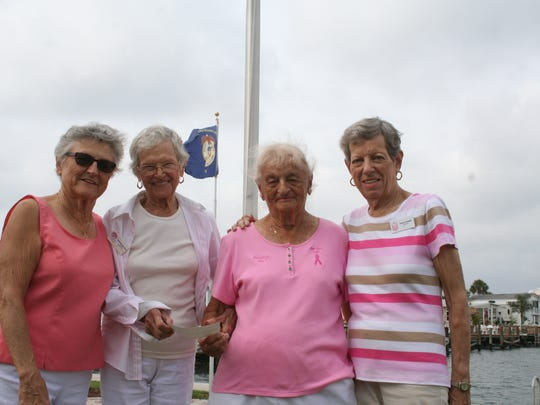 Sally Stumpf and Martha Boston co-chaired the  Nettles Island walk, which raised more than $2,000. From left are Martha Boston, Madeline Herrmann, Sally Stumpf and Vivien Coniglio.
