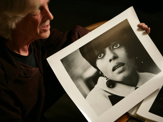 "Barrie Wentzell with a photo he shot of Diana Ross for ""Melody Maker"" magazine."