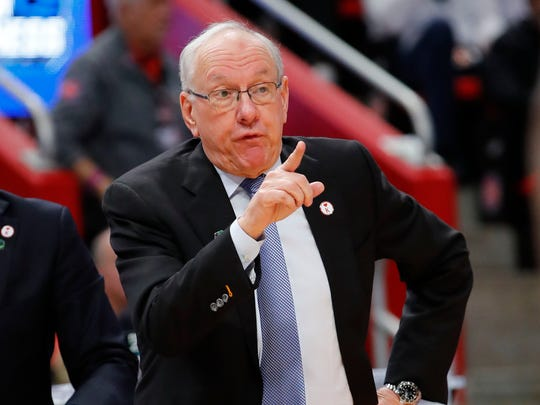 Syracuse Orange head coach Jim Boeheim reacts to a play in the second half against the Michigan State Spartans in the second round of the 2018 NCAA Tournament at Little Caesars Arena in Detroit on March 18, 2018.