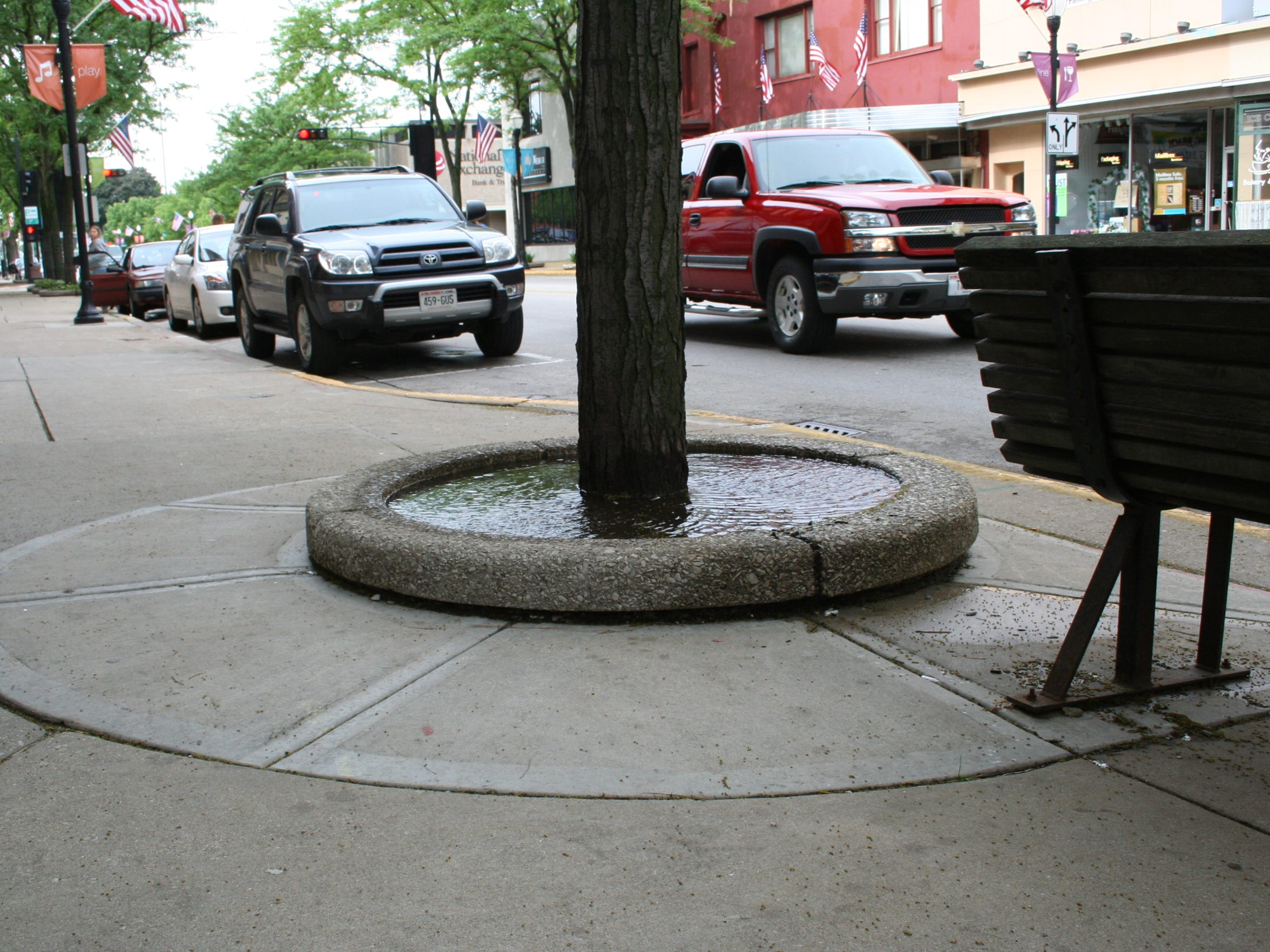 Water fills a planter on Main Street.