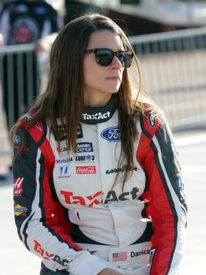 Danica Patrick before qualifying for Sunday's NASCAR Cup Series auto race on Friday, March 17, 2017, in Avondale, Ariz.