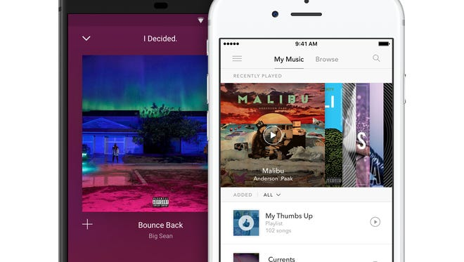 Pandora music app on smartphones.