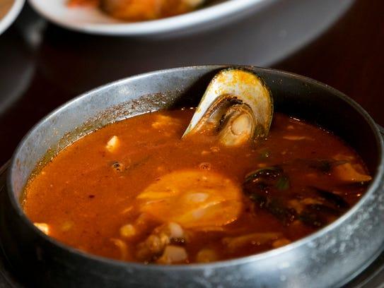 Soondubuchigae is a tofu soup. Origami adds seafood