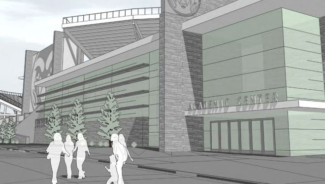 An artist's rendering of the proposed on-campus CSU stadium, released May 7, 2014.