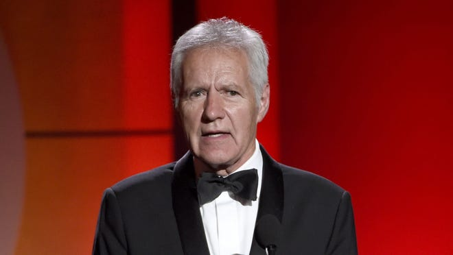 FILE - In this April 30, 2017 file photo, Alex Trebek speaks at the 44th annual Daytime Emmy Awards at the Pasadena Civic Center in Pasadena, Calif.