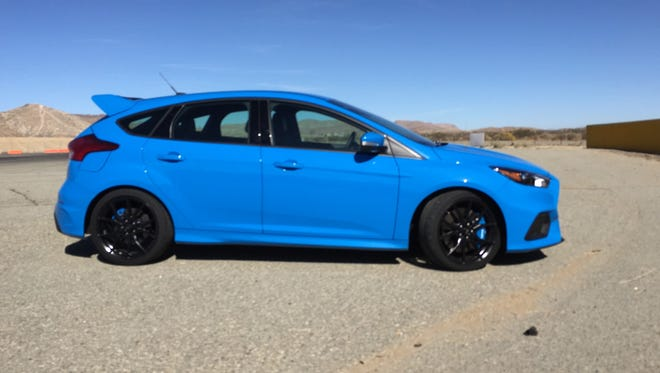 the 2016 Ford Focus RS at the Streets of WIllow race track in California.