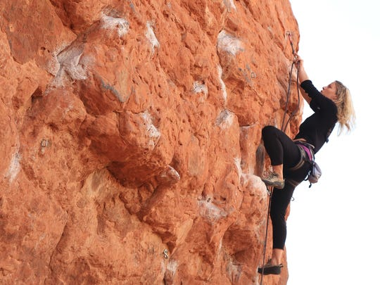 Malynda Madsen ascends the Chuckwalla Wall in St. George, which has become like an outdoor climbing gym for many local climbers.