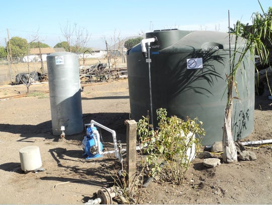 An interim water tank in Tulare County.