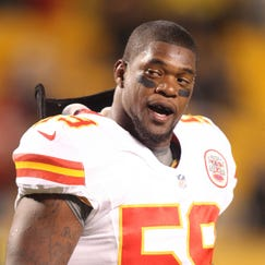 November 12, 2012; Pittsburgh, PA, USA; Kansas City Chiefs inside linebacker Jovan Belcher (59) on the field before playing the Pittsburgh Steelers at Heinz Field. The Pittsburgh Steelers won 16-13 in overtime. Mandatory Credit: Charles LeClaire-USA TODAY Sports