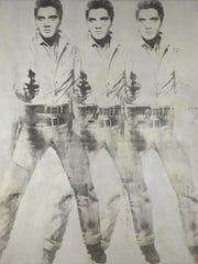 Andy Warhol (1930–1987), Triple Elvis, 1963. aluminum paint and printer's ink silkscreened on canvas. 82⅜ x 71⅛ in. Collection of Virginia Museum of Fine Arts, Richmond. Gift of Sydney and Frances Lewis, 85.453. © 2017 The Andy Warhol Foundation for the Visual Arts, Inc. / Licensed by Artists Rights Society (ARS), New York.