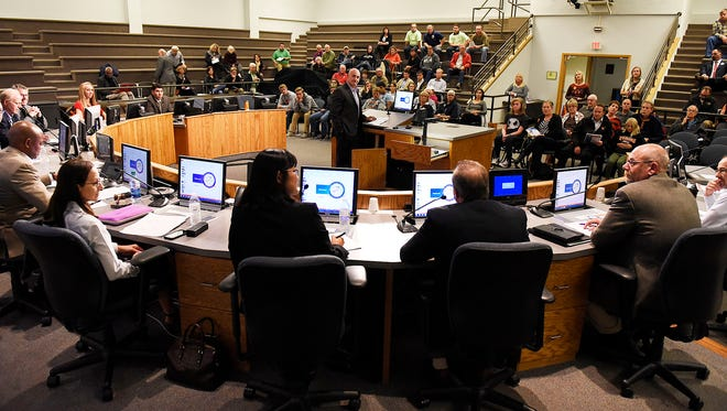 St. Cloud school district representatives answer submitted questions during a public forum explaining the school district's position on the $167-million Nov. 3 referendum Monday, Oct. 12 at the St. Cloud City Hall.