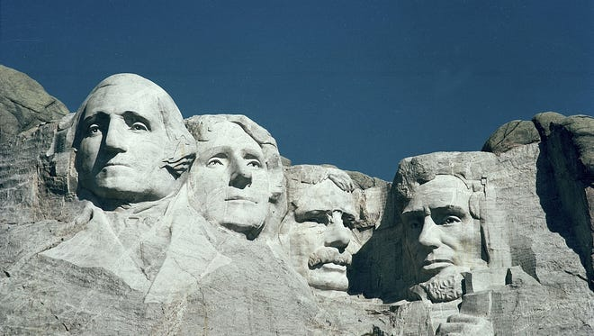 George Washington is featured among the faces on Mount Rushmore.