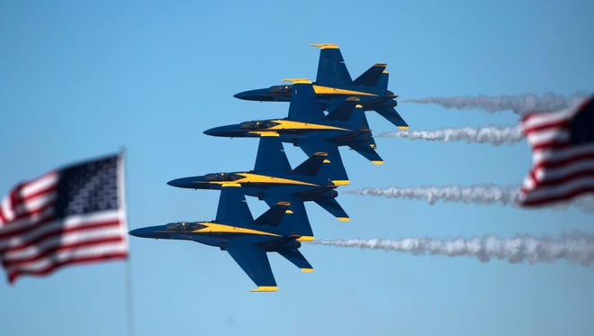 The U.S. Navy Blue Angels take to the skies for the team's annual homecoming air show at Pensacola Naval Air Station Friday, Nov. 10, 2017. The flight demonstration team is wrapping up it 2017 season this weekend.