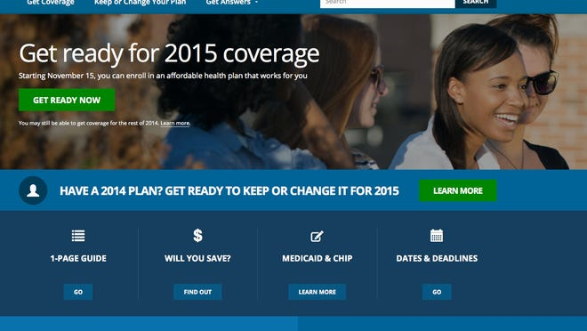 This Oct. 15, 2014, screen shot shows the home page of HealthCare.gov, the federal government website.