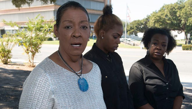 Thelma Roby, the grandmother of a West Florida High School student facing disciplinary reassignment, attends local civil rights leaders and the media during press conference last month to discuss the issue.