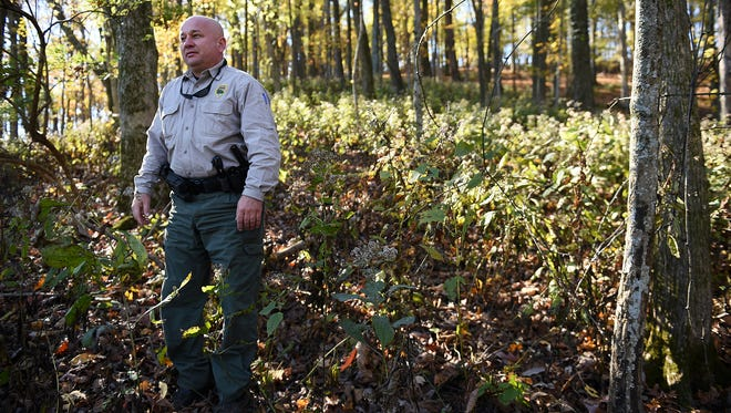 Radnor Lake State Natural Area Park Manager Steve Ward gives a tour of land that was just acquired for the park on Friday, Nov. 13, 2015.