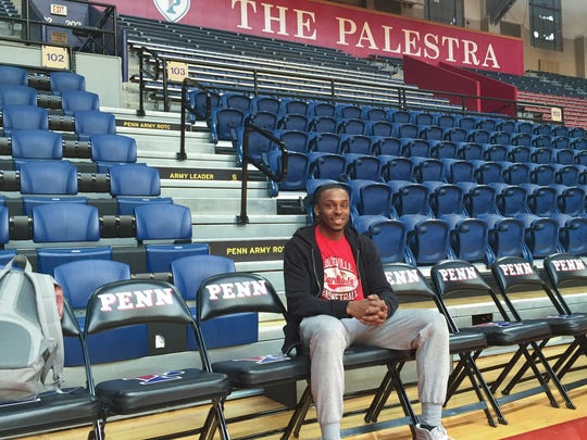 Louisville-bound graduate transfer Tony Hicks sits on the bench chairs at The Palestra weeks before he completes his undergraduate studies at Penn. March 26, 2016