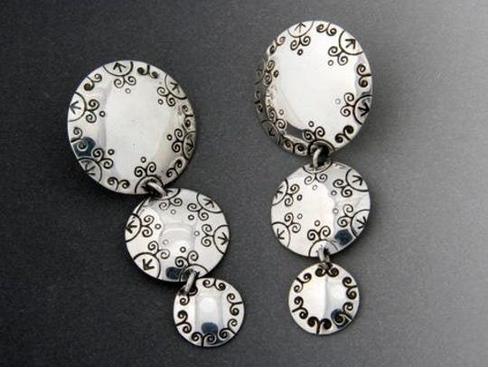 """""""Skydome"""" earrings by Colleen Bins of Chief Oshkosh"""