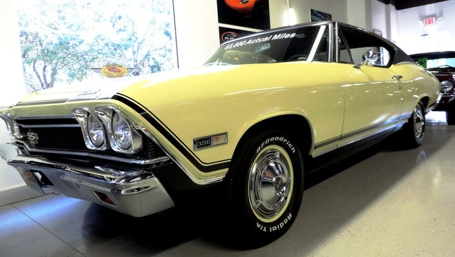 The Premier Motorocars showroom includes this 1968 Chevrolet Chevelle SS.