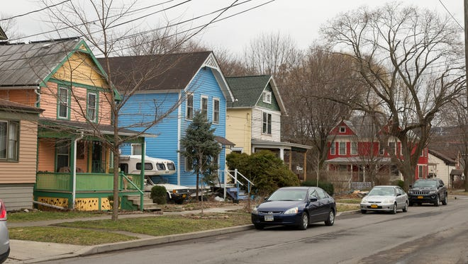 Properties in the flat areas of Ithaca, such as the Fall Creek neighborhood at the intersection of Utica and E. Jay Street, have seen increases in value according to preliminary assessments mailed this week.