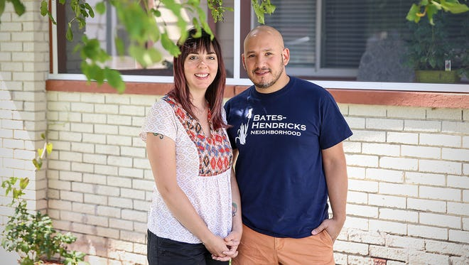 Krissie and Joel Aguilar at their Bates-Hendricks home in Indianapolis.