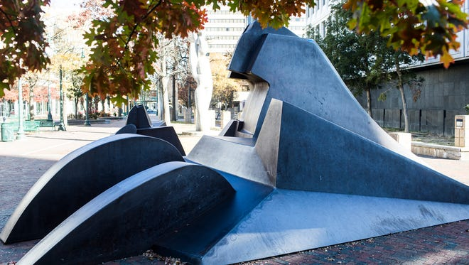 "Chicago sculptor Richard Hunt's ""I Have Been to the Mountaintop"" sculpture is slated to be moved from a sculpture garden on North Main to serve as the centerpiece of a mini-park at Second and Dr. Martin Luther King Boulevard."