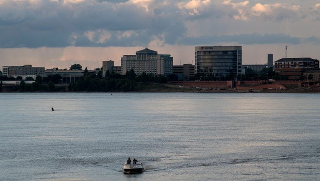 The Ohio River and Downtown Evansville as seen from the area of Inland Marina. The river is a popular recreational attraction for area residents.
