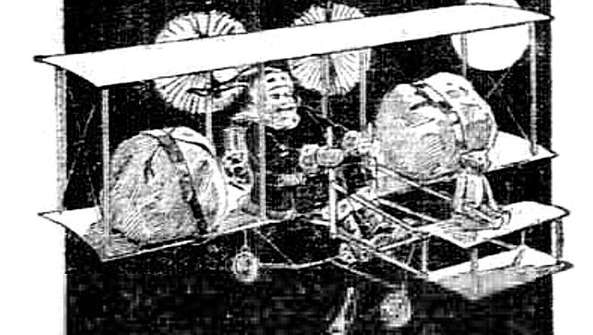 In 1910, Goodwin's Novelty Store depicted Santa Claus in an ad trading in his traditional sleigh and reindeer for a new-fangled aeroplane to speed up his Christmas Eve deliveries.