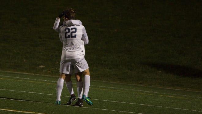 Kieran Geldenhuys and a Butler teammate celebrate a goal against Lipscomb.