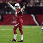 Arizona Cardinals safety Tyrann Mathieu (32) celebrates after breaking up a pass against the Detroit Lions at University of Phoenix Stadium.