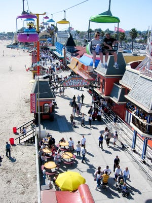 From the air, visitors on rides such as the Sky Glider have a commanding view of Monterey Bay, right next to the Santa Cruz Beach Boardwalk, one of the few coastal communities with a full, functioning amusement park directly by the sea.