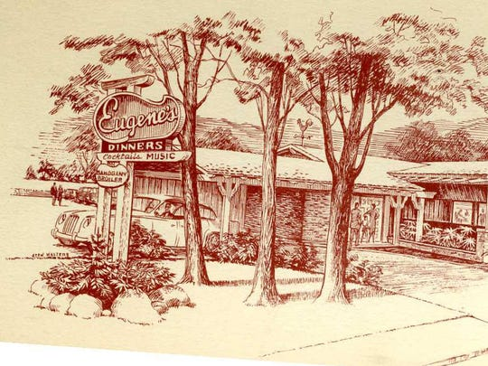 """The """"new"""" Eugene's building, as pictured on a menu cover."""