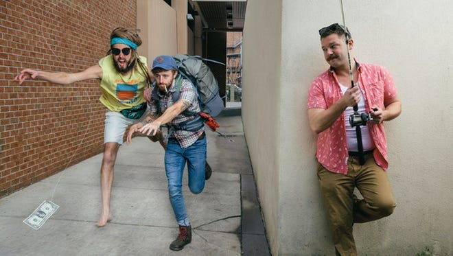 """From left, Grant Tyson, Michael Daw and Max Rowe star in the Pensacola-based sitcom """"Scam County,"""" which is currently in the pilot stages."""
