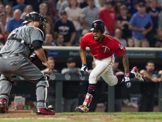 Twins baserunner Byron Buxton scored on an inside-the-park