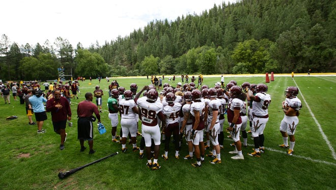The first day of practice for Arizona State at Camp Tontozona on Monday, Jul. 31, 2017 in Kohls Ranch, Ariz.