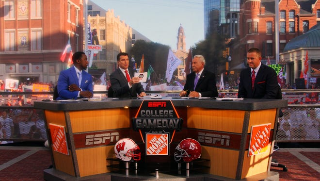 Desmond Howard, Rece Davis, Lee Corso and Kirk Herbstreit host the Dallas Ft. Worth Game Day coverage. The ESPN panelists will be heading to Harrisonburg for College Game Day at JMU on Saturday.