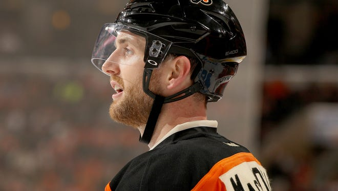 """Andrew MacDonald will miss about a month with a """"lower-body injury,"""" probably suffered from blocking a shot Wednesday night."""