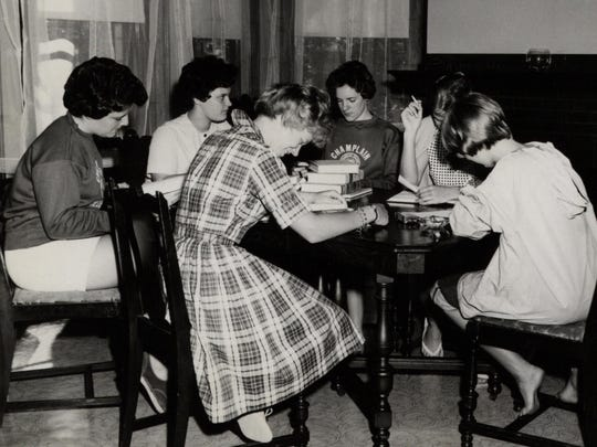 Students studying in Jensen Hall, circa 1965.