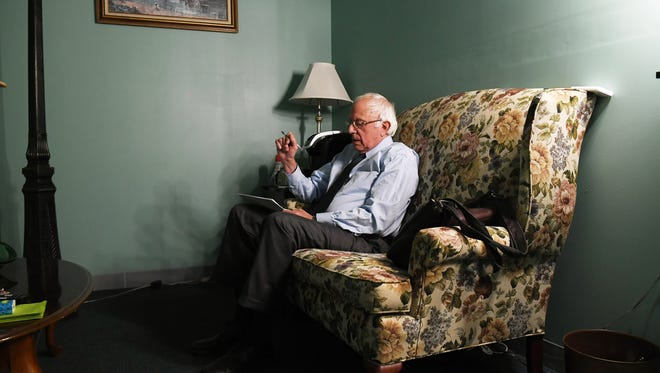 Democratic presidential candidate Sen. Bernie Sanders, I-Vt., prepares to speak for a video to supporters last month at Polaris Mediaworks in Burlington.
